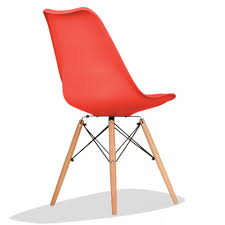 charles eames style dining chair in red with soft pad cushion