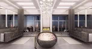 Bathroom With Two Separate Vanities by 41 Bespoke Bathrooms With Glittering Chandeliers