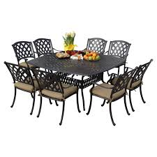 Darlee Santa Monica hanover traditions aluminum 9 piece square patio dining set