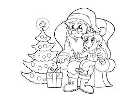 santa claus coloring pages christmas tree and gift coloringstar