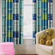 Blue Butterfly Curtains Childrens Nursery Curtains Kids Junior Tweens Tape Top Pencil
