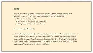 cover letter example profile resume sample resume profile