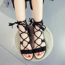 cross tied fringe gladiator sandals