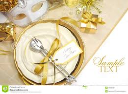 Table Place Settings by White And Gold Happy New Year Elegant Fine Dining Table Place