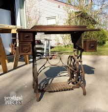 sewing tables by sara reclaimed sewing machine table prodigal pieces