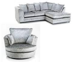 Swivel Sofas For Living Room New Luxury Silver Crushed Velvet Byron Corner Sofa Rhf Swivel
