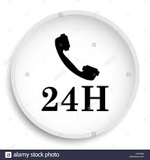 phone icon 24h phone icon 24h phone website button on white background stock