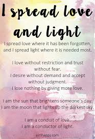 I Am Light An Affirmation To Spread The Love And Light