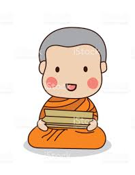 buddhist novice reading scriptures vector illustration tripitaka
