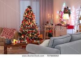 cozy living room lighted numerous lights stock photo 520944133
