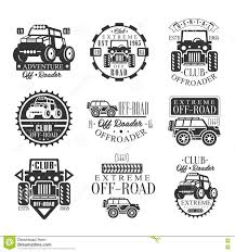 jeep off road silhouette quad bike rental club set of emblems with black and white