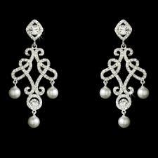 Vintage Pearl Chandelier Earrings Victorian Vintage Cz Pearl Chandelier Earrings Sale