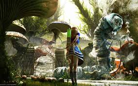 alice in wonderland fantasy art syringe mushroom wallpapers hd