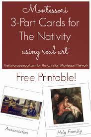 montessori nativity 3 part cards with free printable montessori