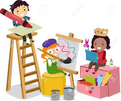 illustration of stickman kids making arts and crafts stock photo