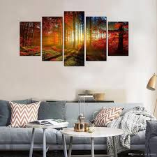 5 picture beautiful autumn maple canvas paintings landscape wall