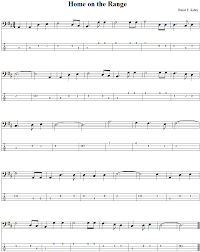 home on the range bass guitar tab and sheet music
