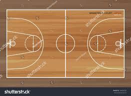 Basketball Court Floor Plan Wooden Basketball Court Vector Illustration Stock Vector 154094702