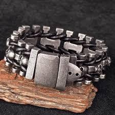 leather stainless steel bracelet images Leather woven stainless steel skull bracelet ancient explorers jpg