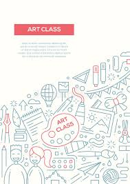 classroom layout template art class line design brochure poster template a4 stock vector