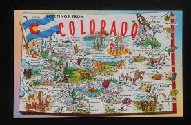 Map Of Colorado State by 1950s Postcard State Map Of Colorado Landmarks Icons Bird Flower