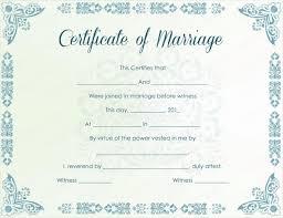 printable marriage certificate samples