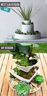 create a tiered plant stand from old dishes for indoor or bowl