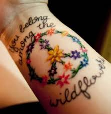 peace sign tattoo combined with a vine stencils pinterest