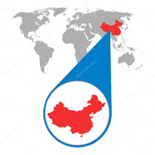 Flat World Map World Map With Zoom On China Map In Loupe Vector Illustration In