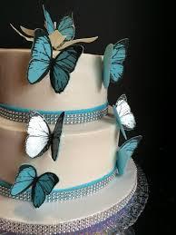 Blue Butterfly Wedding Cake With Handmade Edible Butterflies