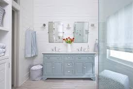 powder room dual washstand with light gray porcelain tile wood