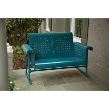 Loveseat Glider Hanover Retroloveseat Retro Blue Metal Glide Action Loveseat