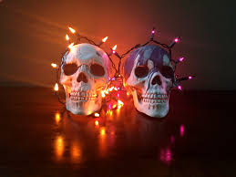 decorations two skulls and two strands of mini lights