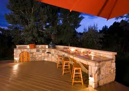 diy outdoor kitchen ideas brown painted pergola stone slab floor