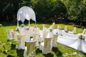 Wedding Ceremony Decorations In The Park At Sunny Day Stock