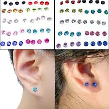 allergy earrings 20 pairs women s 5mm clear multicolor allergy free ear