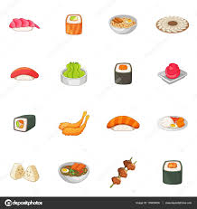 jeux de cuisine japonaise jeu de cuisine japonaise icônes style image vectorielle