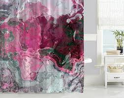Waterproof Fabric Shower Curtains Contemporary Shower Curtain Abstract Art Bathroom Decor Lime