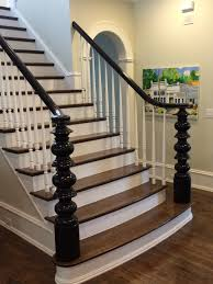 custom stair with wood treads painted risers and spindles with