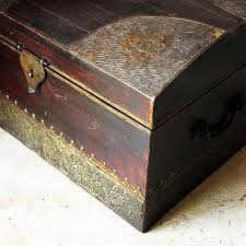 vintage wooden chest with brass inlay work from rajasthan l 41