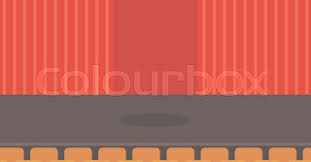 Stage With Curtains Theater Stage With Curtains Seats And Spotlight Vector Flat