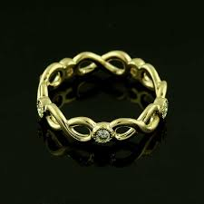 infinity wedding band 14k gold milgrain bezel set diamonds eternity infinity wedding