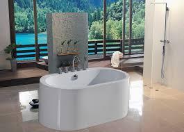 interior rectangle white acrylic freestanding bathtub on the