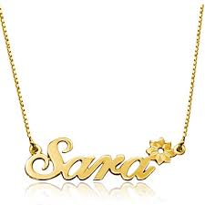 Gold Plated Necklace With Name Name Necklace 18 K Gold Plated 925 Sterling Silver Flower Custom