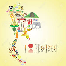 Thailand Round Flag Thailand Map Set Color Vector Icons And Symbols In Form Of Map