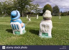 garden ornaments miniature cricket match with garden gnome type