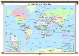Political Map Of Canada U S U0026 World Spanish Language Political Classroom Map Combination