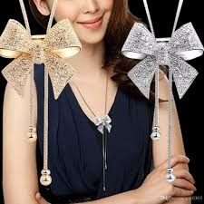 long chain bow necklace images Wholesale 2017 crystal necklace fashion jewelry women necklace jpg