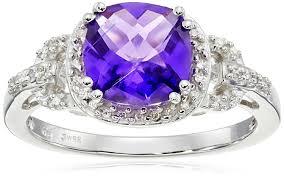 amethyst engagement rings amazon com 10k white gold amethyst cushion with diamond ring