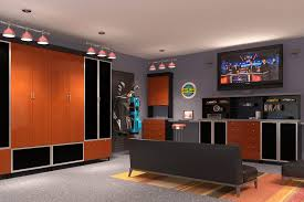 29 garage storage ideas plus 3 garage man caves the dominating attraction in this garage man cave is none other than the black melamine cabinets